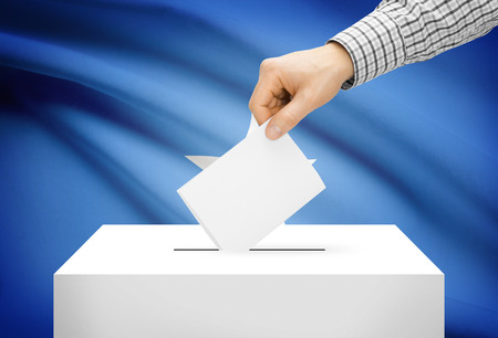 political system: Voting concept - Ballot box with national flag on background - Somalia Stock Photo