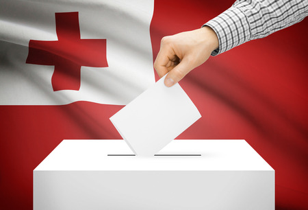 Voting concept - Ballot box with national flag on background - Tonga