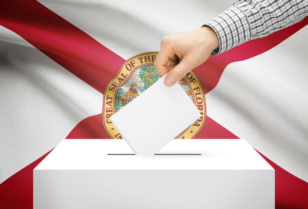 floridian: Voting concept - Ballot box with national flag on background - Florida