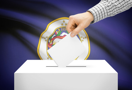 electoral system: Voting concept - Ballot box with national flag on background - Minnesota