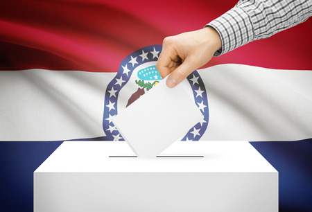 ballot box: Voting concept - Ballot box with national flag on background - Missouri