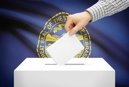 ballot box: Voting concept - Ballot box with national flag on background - Nebraska Stock Photo