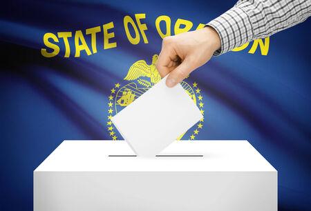 ballot box: Voting concept - Ballot box with national flag on background - Oregon