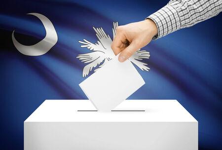 ballot box: Voting concept - Ballot box with national flag on background - South Carolina