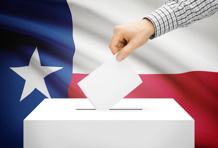 ballot box: Voting concept - Ballot box with national flag on background - Texas Stock Photo