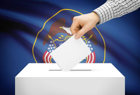 ballot box: Voting concept - Ballot box with national flag on background - Utah