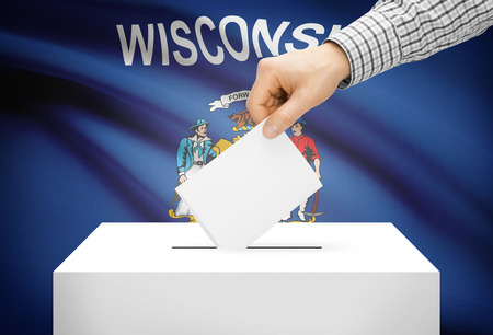 wisconsin flag: Voting concept - Ballot box with national flag on background - Wisconsin