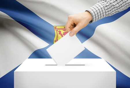 polling booth: Voting concept - Ballot box with national flag on background - Nova Scotia Stock Photo