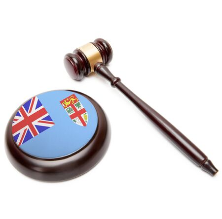 fijian: Judge gavel and soundboard with national flag on it - Fiji Stock Photo