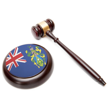 pitcairn: Judge gavel and soundboard with national flag on it - Pitcairn Group of Islands