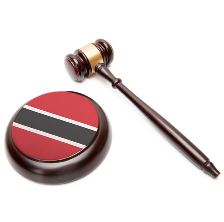 national flag trinidad and tobago: Judge gavel and soundboard with national flag on it - Trinidad and Tobago