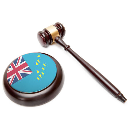 Judge gavel and soundboard with national flag on it - Tuvalu Stock Photo