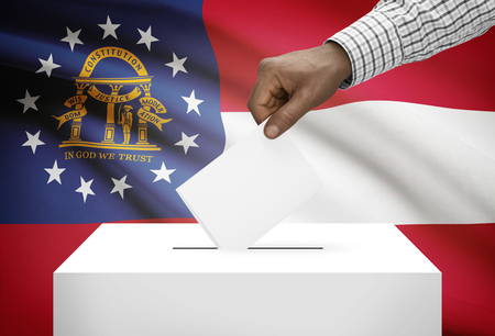 political system: Voting concept - Ballot box with US state flag on background - Georgia Stock Photo