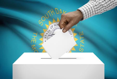 ballot box: Voting concept - Ballot box with US state flag on background - South Dakota