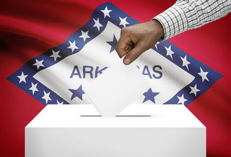 ballot box: Voting concept - Ballot box with US state flag on background - Arkansas Stock Photo