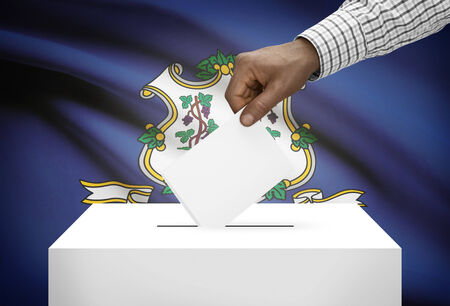 political system: Voting concept - Ballot box with US state flag on background - Connecticut