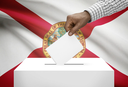 ballot box: Voting concept - Ballot box with US state flag on background - Florida Stock Photo