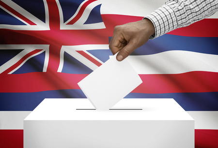 ballot box: Voting concept - Ballot box with US state flag on background - Hawaii