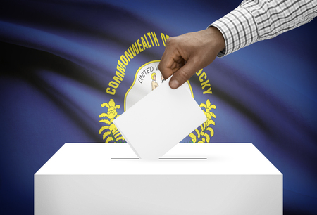 ballot box: Voting concept - Ballot box with US state flag on background - Kentucky Stock Photo