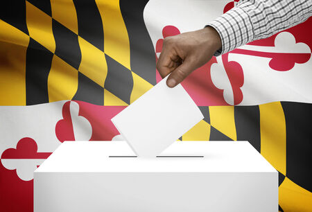 ballot box: Voting concept - Ballot box with US state flag on background - Maryland Stock Photo
