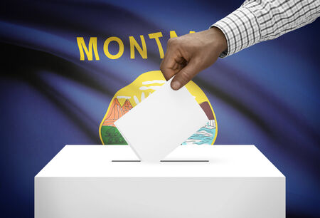 ballot box: Voting concept - Ballot box with US state flag on background - Montana