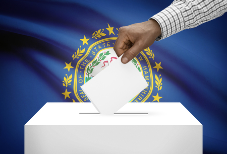 ballot box: Voting concept - Ballot box with US state flag on background - New Hampshire