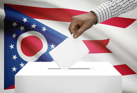 ballot box: Voting concept - Ballot box with US state flag on background - Ohio