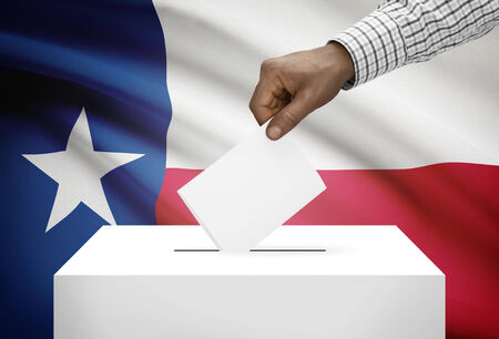 electoral system: Voting concept - Ballot box with US state flag on background - Texas