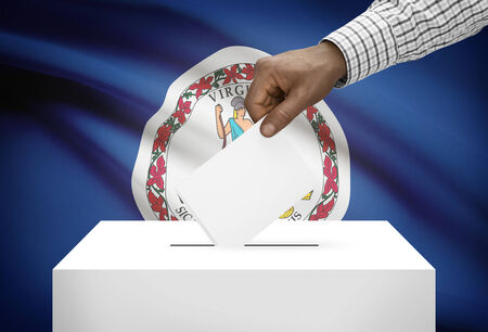 electoral system: Voting concept - Ballot box with US state flag on background - Virginia