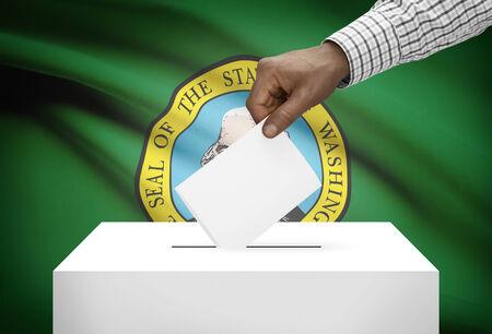 ballot box: Voting concept - Ballot box with US state flag on background - Washington