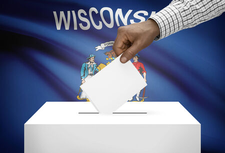 ballot box: Voting concept - Ballot box with US state flag on background - Wisconsin Stock Photo