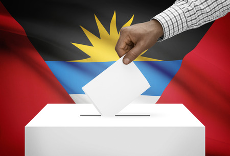 political system: Ballot box with national flag on background - Antigua and Barbuda