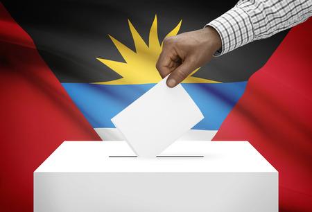 antigua: Ballot box with national flag on background - Antigua and Barbuda