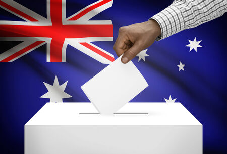 political system: Ballot box with national flag on background - Australia