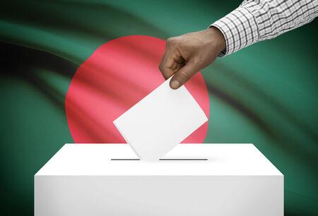 national flag bangladesh: Ballot box with national flag on background - Bangladesh