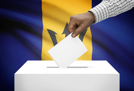 political system: Ballot box with national flag on background - Barbados
