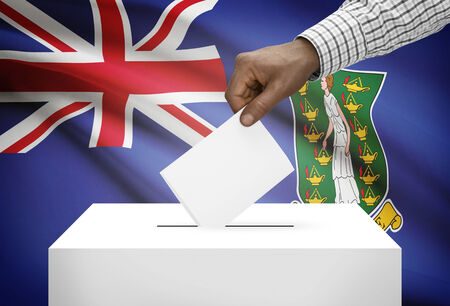 political system: Ballot box with national flag on background - British Virgin Islands