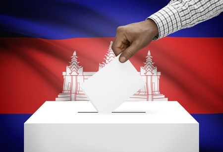 electoral system: Ballot box with national flag on background - Cambodia Stock Photo