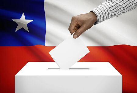 Ballot box with national flag on background - Chile Stock Photo