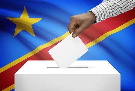 Ballot box with national flag on background - Democratic Republic of the Congo - Congo-Kinshasa