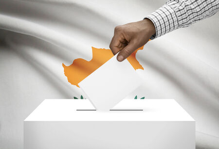 political system: Ballot box with national flag on background - Cyprus