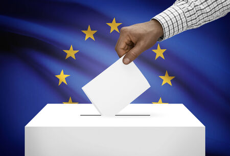 electoral system: Ballot box with national flag on background - European Union - Europe - EU