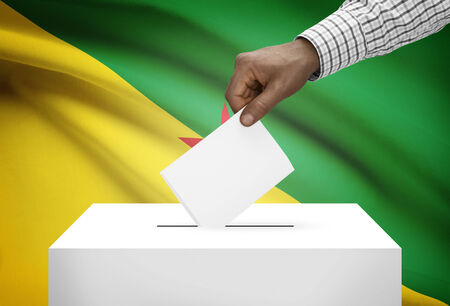 electoral system: Ballot box with national flag on background - French Guiana