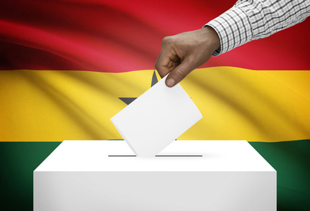 electoral system: Ballot box with national flag on background - Ghana