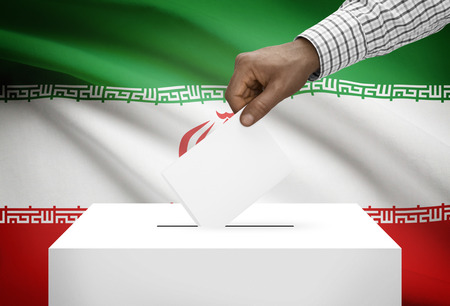 Ballot box with national flag on background - Iran photo