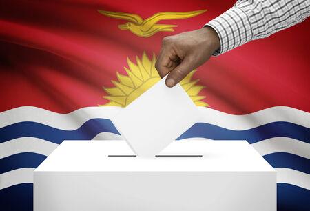 political system: Ballot box with national flag on background - Kiribati Stock Photo