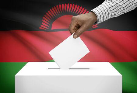 malawian flag: Ballot box with national flag on background - Malawi Stock Photo