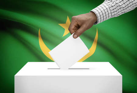 Ballot box with national flag on background - Mauritania photo