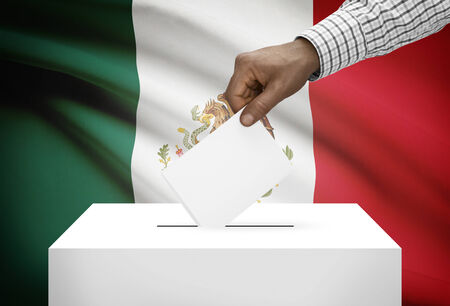 electoral: Ballot box with national flag on background - Mexico
