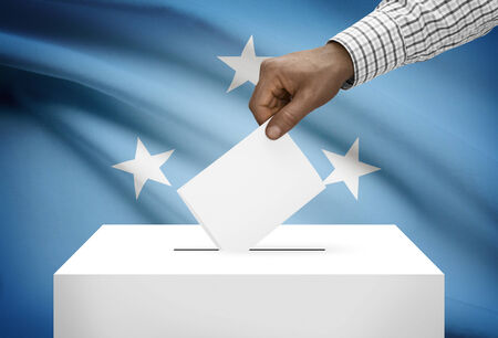 electoral system: Ballot box with national flag on background - Federated States of Micronesia